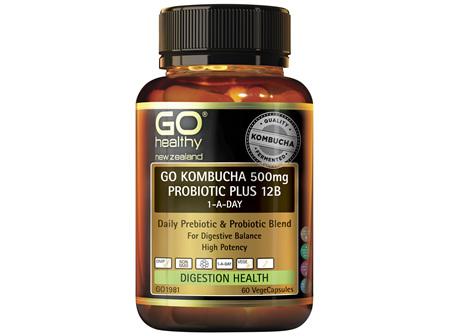 Go Kombucha 500mg Probiotic plus 12B 1-A-Day(60Vcaps)