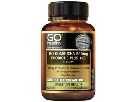 GO Kombucha 500mg Probiotic Plus 12B 60 VCaps