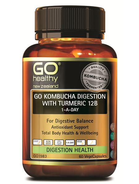 GO KOMBUCHA DIGESTION WITH TUMERIC 12B 1-A-DAY (60VCAPS)