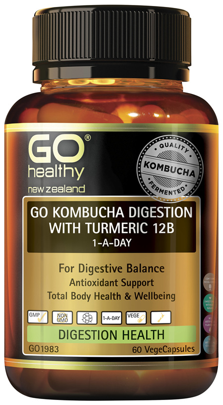 GO Kombucha Digestion with Turmeric 12B 60 VCaps