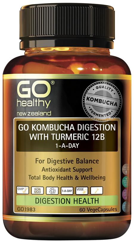 GO Kombucha Digestion with Turmeric 12B 60 VCaps