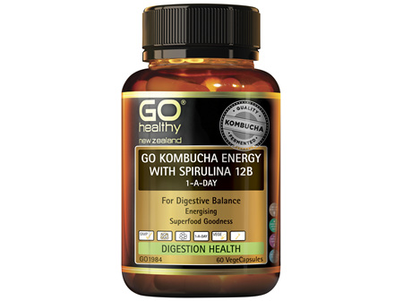 GO Kombucha Energy with Spirulina 12B 1-A-Day 60 VCaps