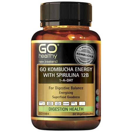 GO Kombucha Energy with Spirulina 12B 1-A-Day 60 VCaps