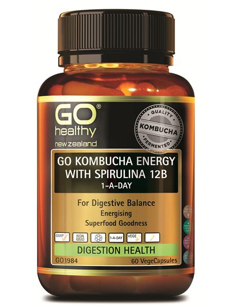 GO KOMBUCHA ENERGY WITH SPIRULINA 12B 1-A-DAY (60VCAPS)