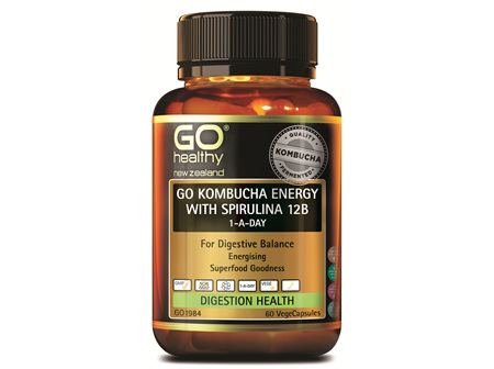GO KOMBUCHA ENERGY WITH SPIRULINA 12B 1-A-DAY (60VCAPS)