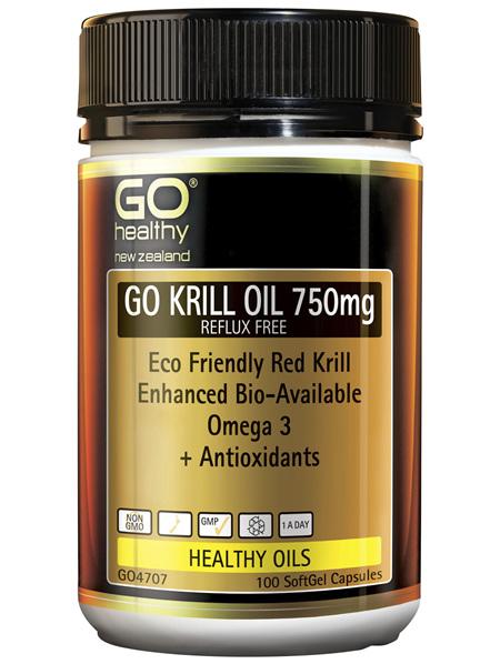 GO Krill Oil 750mg Reflux Free 100 Caps