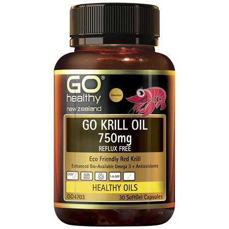 GO Krill Oil 750mg Reflux Free 30 Caps