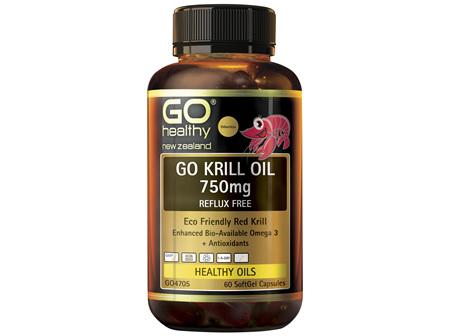 GO Krill Oil 750mg Reflux Free 60 Caps