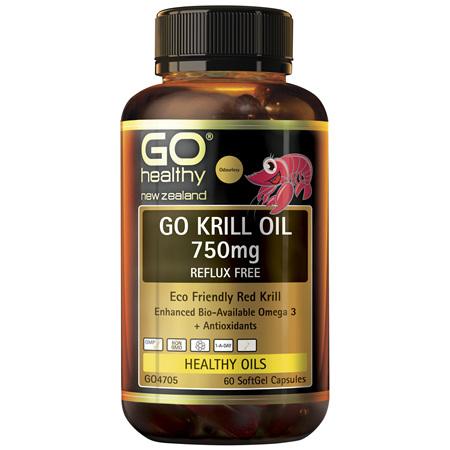 GO Krill Oil 750mg Reflux Free 60cp