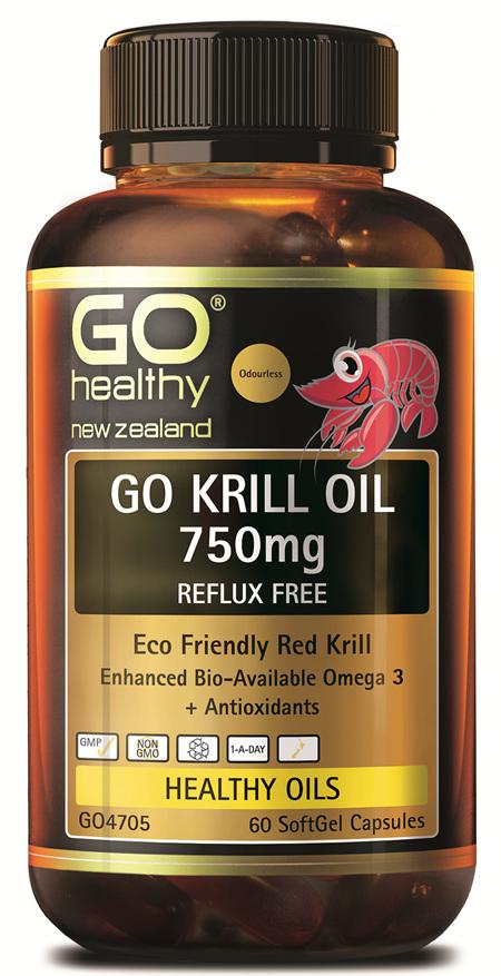 GO KRILL OIL 750MG REFLUX FREE - ENHANCED BIO-AVAILABLE OMEGA 3 (60 CAPS)