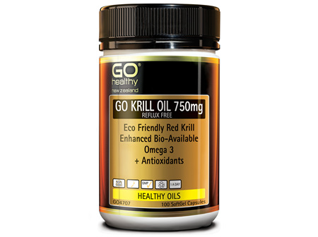 GO KRILL OIL 750mg REFLUX FREE - Enhanced Bio-Available Omega 3 (100 caps)
