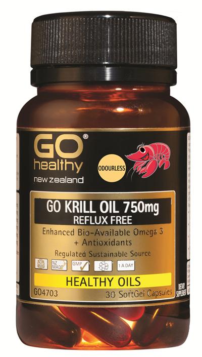 GO KRILL OIL 750mg REFLUX FREE - Enhanced Bio-Available Omega 3 (30 caps)