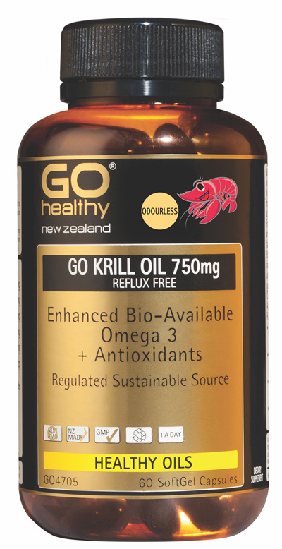 GO KRILL OIL 750mg REFLUX FREE - Enhanced Bio-Available Omega 3 (60 caps)