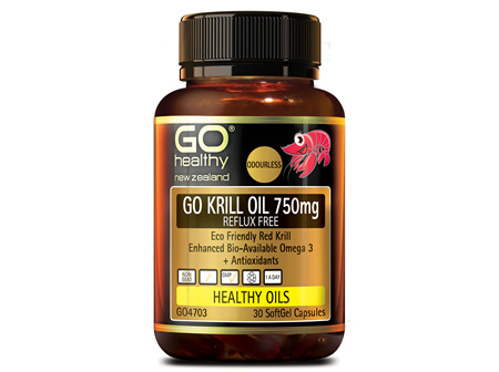 GO KRILL OIL 750mg REFLUX FREE  Enhanced BioAvailable Omega 3 30 caps