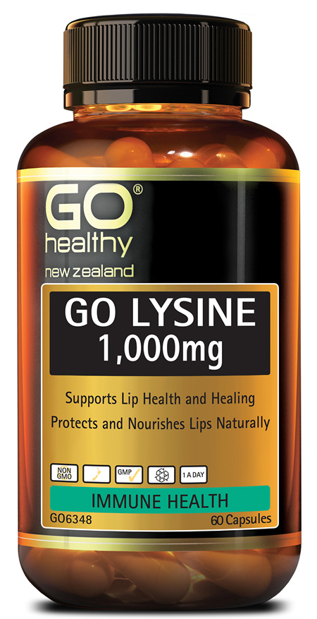 GO LYSINE 1,000mg - Supports Lip Health and Healing (60 Caps)