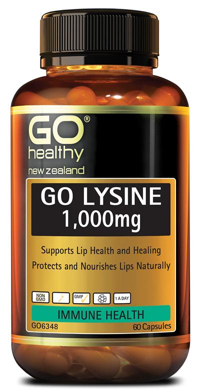 GO LYSINE 1,000mg - Supports Lip Health and Healing (60 Caps)
