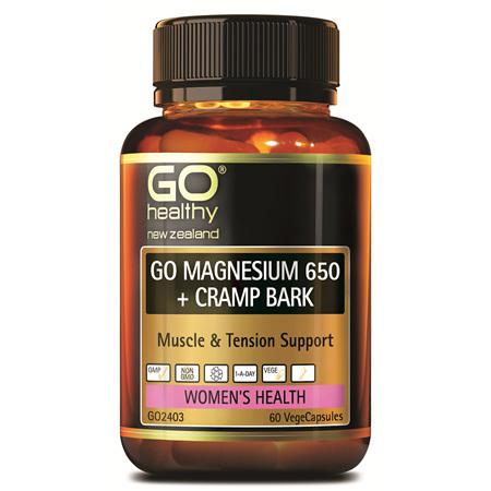 GO Magnesium 650 + Cramp Bark 60vcaps