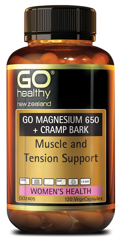 GO MAGNESIUM 650+ CRAMP BARK - Muscle & Tension Support (120 Vcaps)