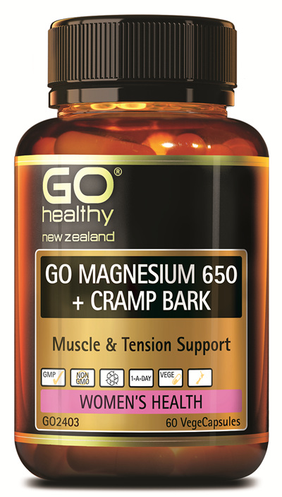 GO MAGNESIUM 650+ CRAMP BARK - Muscle & Tension Support (60 Vcaps)