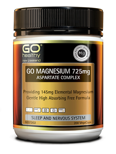 GO MAGNESIUM 725mg - Aspartate Complex (200 Vcaps)