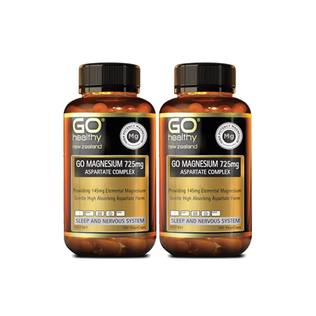 GO Magnesium 725mg Aspartate Complex 2x100vcaps