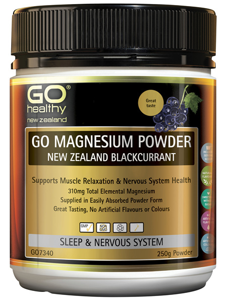 GO Magnesium Powder NZ Blackcurrant 250g
