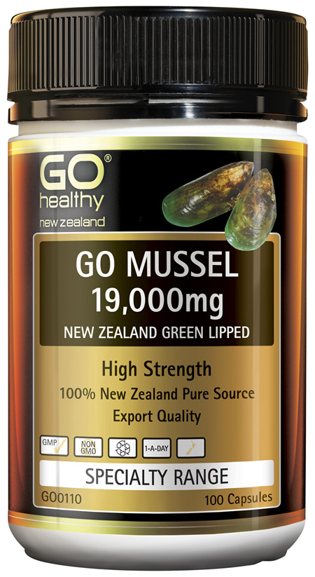 GO Mussel 19,000mg New Zealand Green Lipped 100 Caps