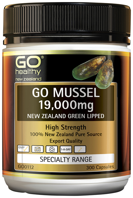 GO Mussel 19,000mg New Zealand Green Lipped 300 Caps
