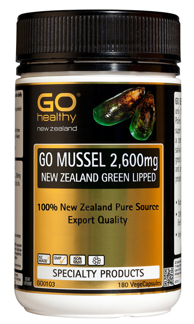 GO MUSSEL 2,600mg - New Zealand Green Lipped (180 VCaps)