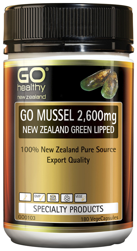 GO Mussel 2,600mg New Zealand Green Lipped 180 Vcaps