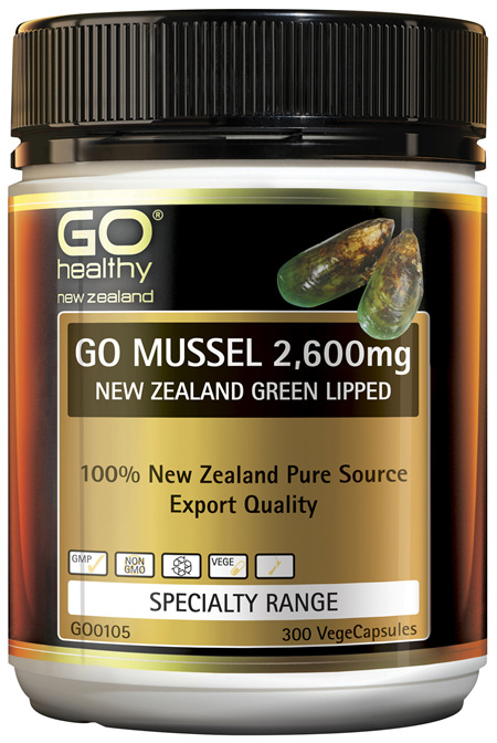 GO Mussel 2,600mg New Zealand Green Lipped 300 VCaps