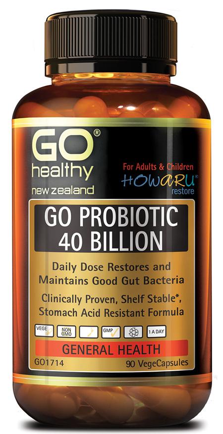 GO PROBIOTIC 40 BILLION - HOWARU RESTORE® (SHELF STABLE PROBIOTICS) (90 VCAPS)