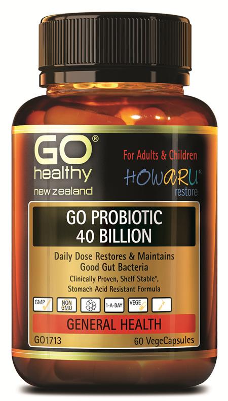 GO PROBIOTIC 40 BILLION - HOWARU RESTORE® (SHELF STABLE PROBIOTICS) (60 VCAPS)