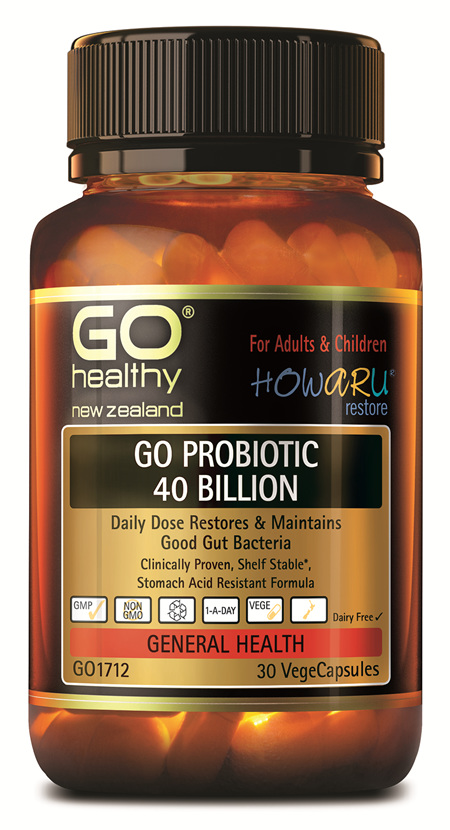 GO PROBIOTIC 40 BILLION - HOWARU RESTORE® (SHELF STABLE PROBIOTICS) (30 VCAPS)