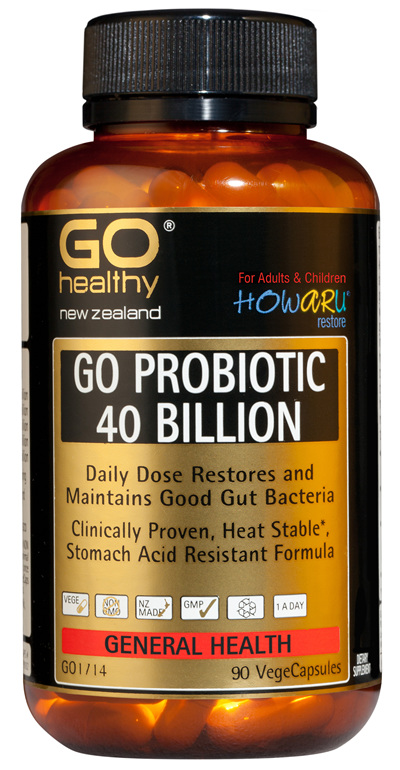 GO PROBIOTIC 40 BILLION - HOWARU Restore (Shelf Stable Probiotics) (90 Vcaps)