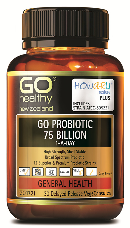GO PROBIOTIC 75 BILLION - HOWARU RESTORE® (SHELF STABLE PROBIOTICS) (30 VCAPS)