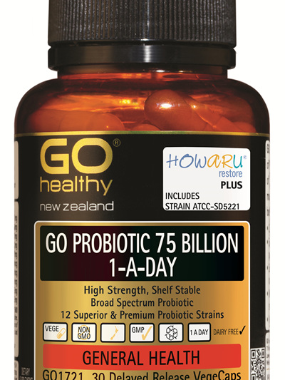 GO PROBIOTIC 75 BILLION - HOWARU Restore (Shelf Stable Probiotics) (30 Vcaps)