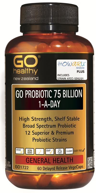 GO PROBIOTIC 75 BILLION - HOWARU Restore (Shelf Stable Probiotics) (60 Vcaps)