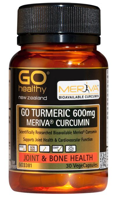 GO TURMERIC 600mg MERIVA CURCUMIN - Supports Joint Health (30 Vcaps)