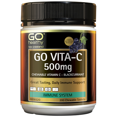 GO Vita-C 500mg BlackCurrant 200 Chew