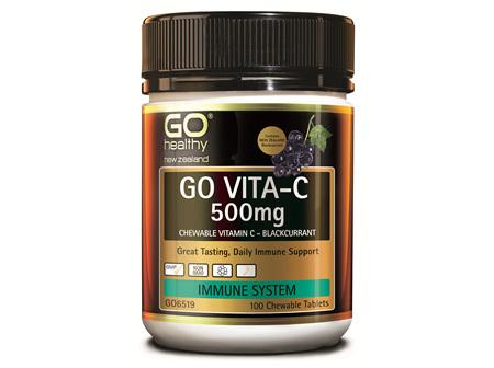 GO VITA-C 500mg - Chewable Vitamin C - Blackcurrant (100 C-tabs)