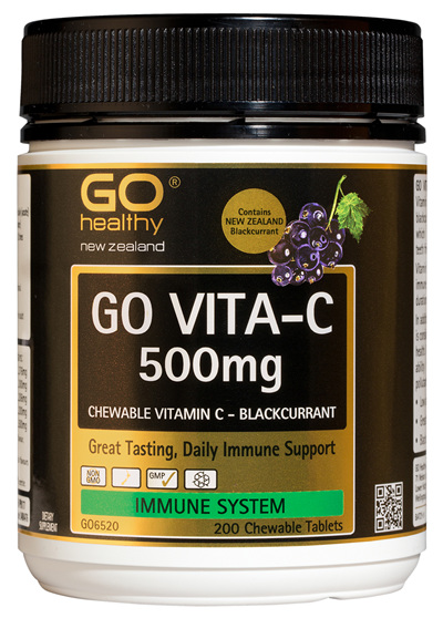 GO VITA-C 500mg - Chewable Vitamin C - Blackcurrant (200 C-tabs)