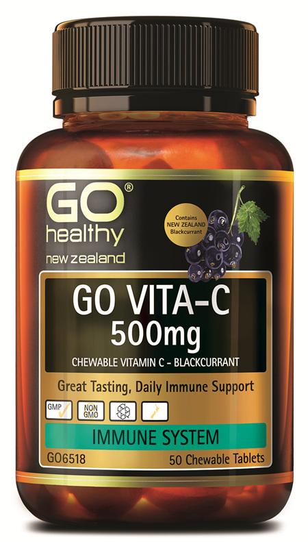 GO VITA-C 500mg - Chewable Vitamin C - Blackcurrant (50 C-tabs)