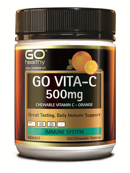 GO VITA-C 500MG - CHEWABLE VITAMIN C - ORANGE (200 C-TABS)