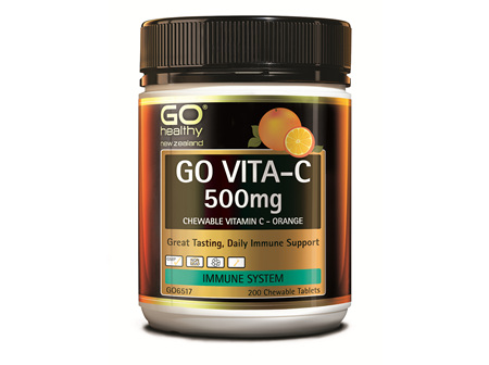 GO VITA-C 500mg - Chewable Vitamin C - Orange (200 C-tabs)