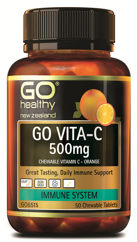 GO VITA-C 500mg - Chewable Vitamin C - Orange (50 C-tabs)