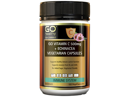 GO Vitamin C 500mg + Echinacea Vegetarian Capsules 100 VCaps