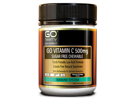 GO VITAMIN C 500mg SUGAR FREE CHEWABLE - Premium Low Acid Formula (100 C-tabs)