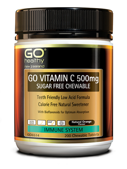 GO VITAMIN C 500mg SUGAR FREE CHEWABLE - Premium Low Acid Formula (200 C-tabs)