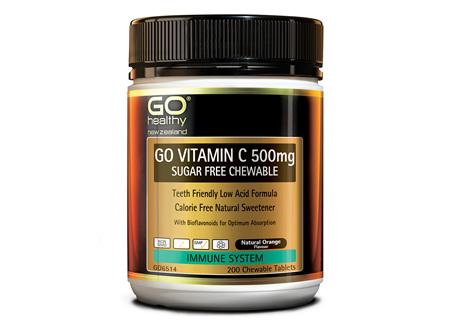 GO VITAMIN C 500mg SUGAR FREE CHEWABLE - Premium Low Acid Formula (200 C-tabs)